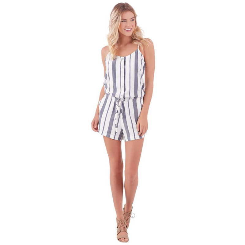 DENVER ROMPER IN WHITE CHAMBRAY STRIPE
