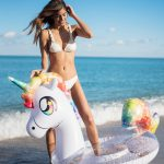 Glitter 48″ Jumbo Rainbow Unicorn Pool Tube