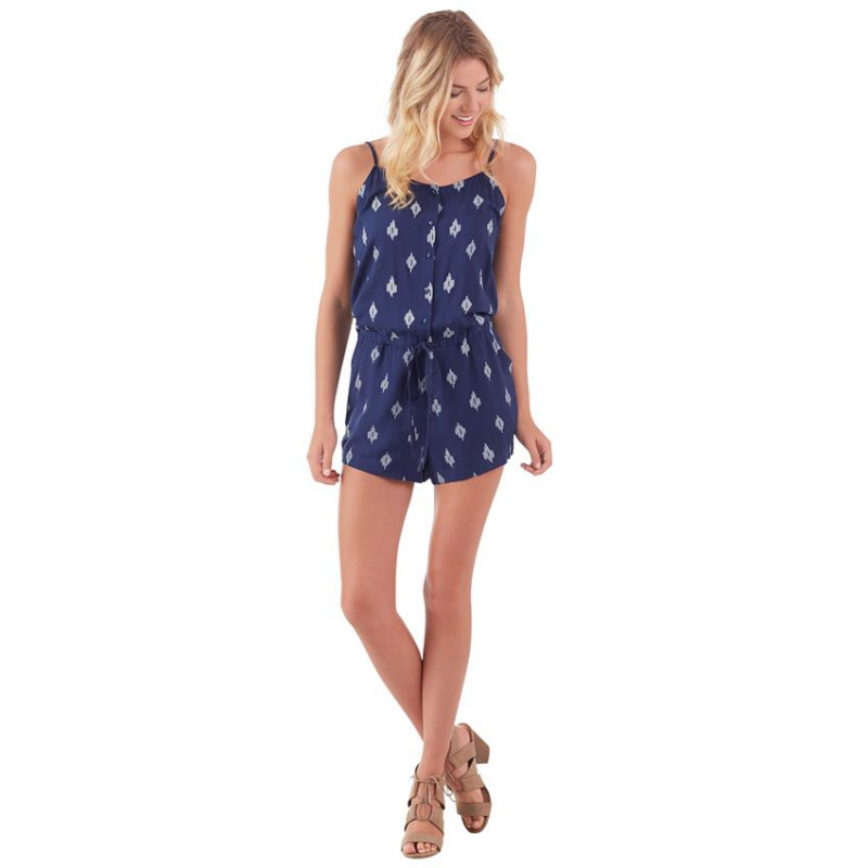 DENVER ROMPER IN NAVY IKAT PRINT