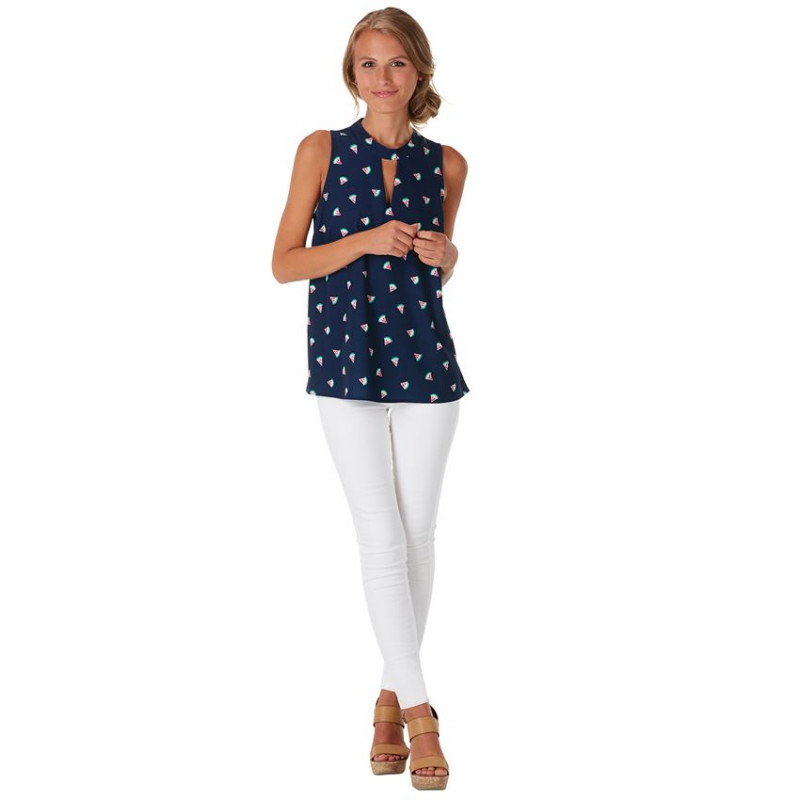 BEVERLY SWING TOP IN NAVY WATERMELON PRINT