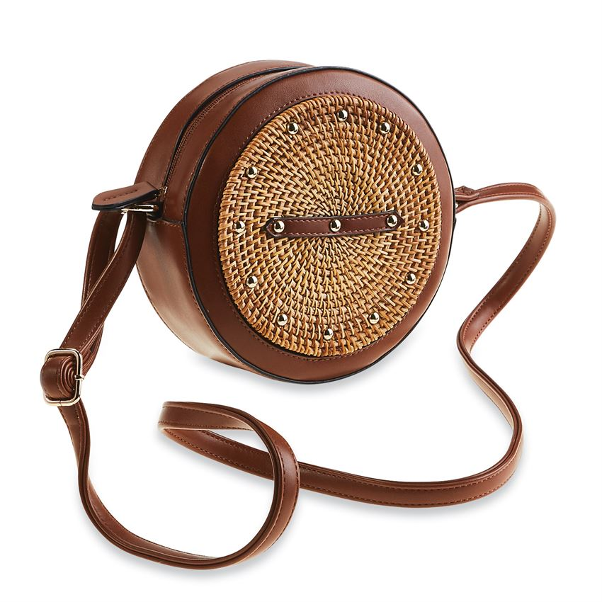 Brown Rattan Circle Studded Crossbody Bag