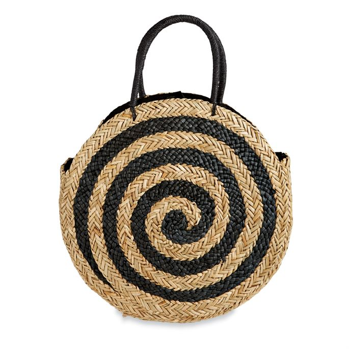 Black Spiral Large Circle Straw Tote Bag
