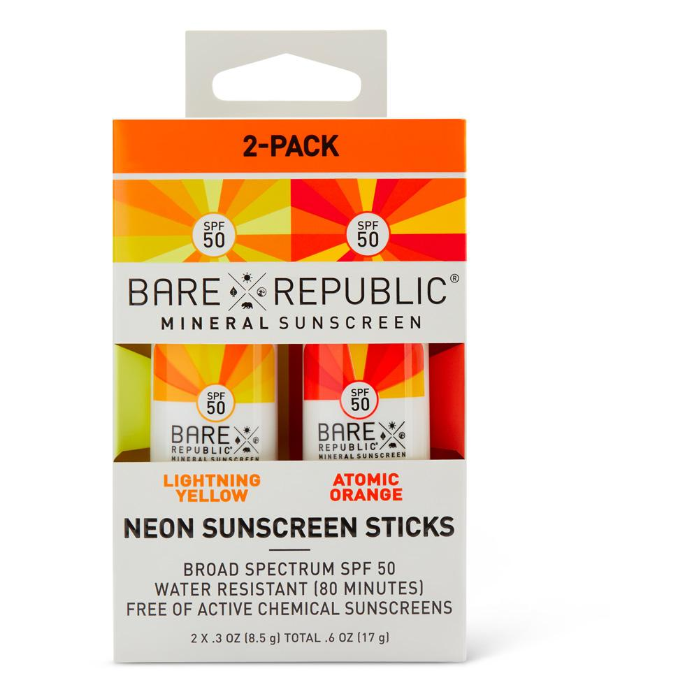 Mineral SPF 50 Neon Sunscreen Stick 2-Pack – Orange, Yellow