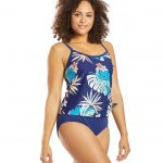 Hula Leaf Scoop Faux Tankini One Piece Swimsuit