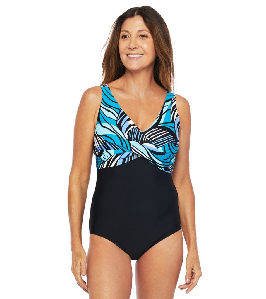 Zebra Leaf Wrap Front One Piece Swimsuit