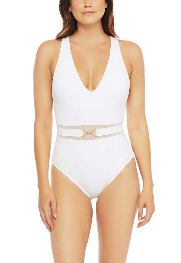 Mesh-Merizing Belted Plunge One-Piece (White)