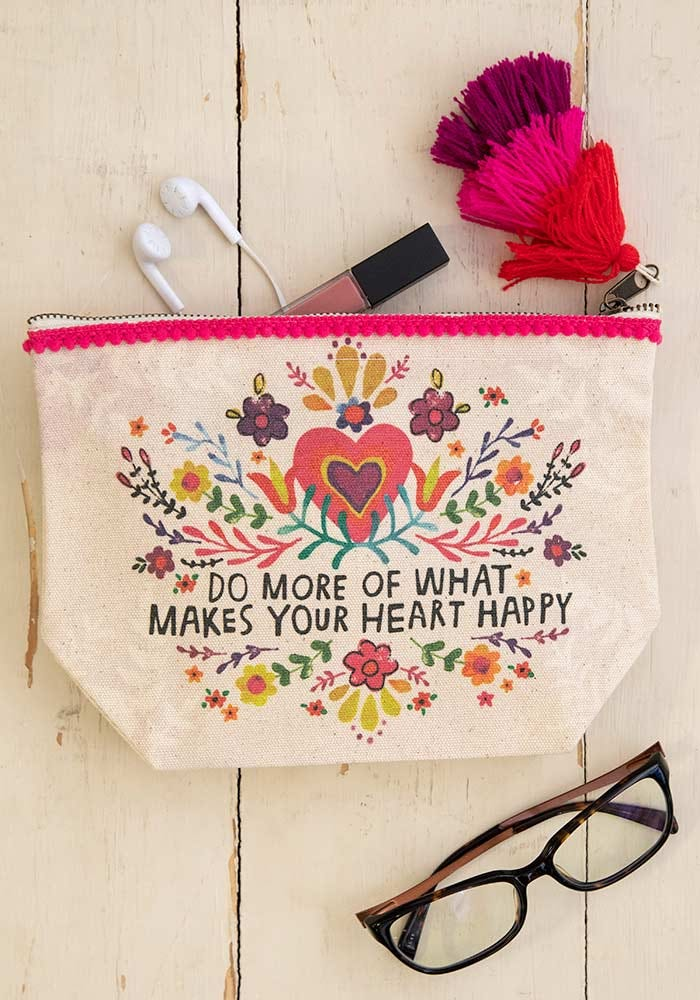 Heart Happy Canvas Pouch